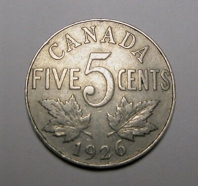 1926 N6  Canada 5 Cent Nickle - King George V - Nice Fine Key Date