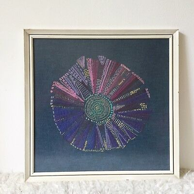 Vintage Embroidery Picture, Retro 1970s Framed Embroidery