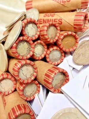 Wheat Rolls With Barber Dime Showing Silver Coins And Currency Mix Lot Estate