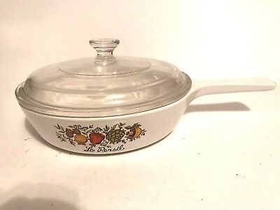 """Vintage Corning Ware P-83-B 6 1/2"""" Fry Pan With Lid ~ Le Persil Vegetable Design"""