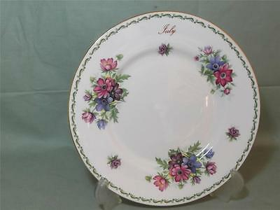 Queens China Flower of the Month Salad Plate for July  (Gold Rim)
