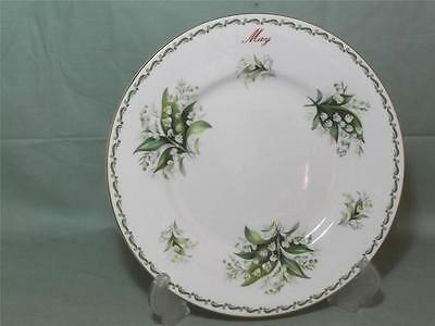 Queens China Flower of the Month Salad Plate May Lily of the Valley (Gold Rim)