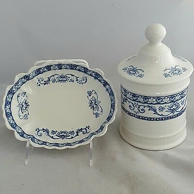 Fenton 1913 James Kent Ltd. Dominion Covered Canister and Oval Bowl Flow Blue