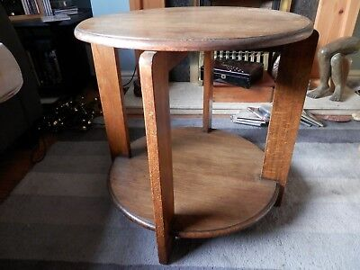 Art Deco Style Solid Oak Antique Round/Circular Coffee/Occasional Two Tier Table