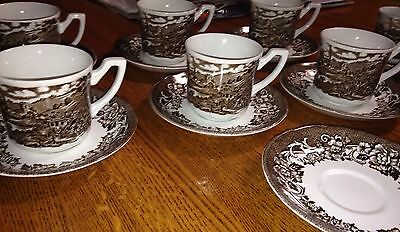 Royal Staffordshire Stratford Stage Tea Cups and Saucers (7)