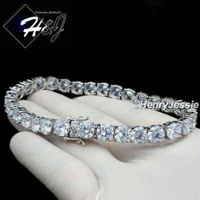 "8.5""men 925 Sterling Silver 6Mm Iced Out Bling 1 Row Tennis Chain Bracelet*sb1"