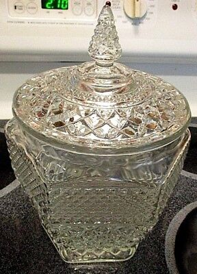 Anchor Hocking Wexford Cookie Jar w Lid 6 sided Clear Glass Diamond Point USA