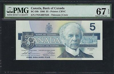 Canada 1986 BC-56b PMG Superb Gem UNC 67 EPQ 5 Dollars (Thiessen-Crow)