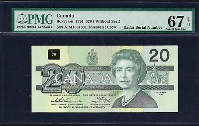 Canada 1991 BC-58a-ii PMG Superb Gem UNC 67 EPQ 20 Dollars *Radar Serial Number*