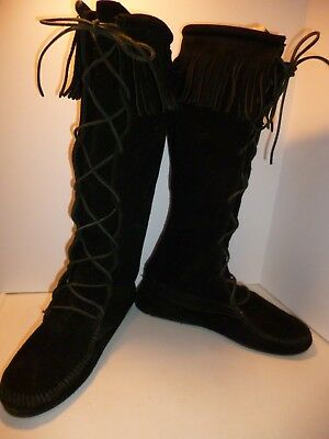 "Minnetonka 16"" Tall Moccasin Boot Lace Up Fringe Men's Size 8 Women's Size 10"