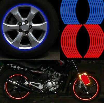 Red 16pcs 8mm Motorbike Car Reflective Rim Tape Wheel Sticker Trim Motorcycle