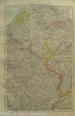 Antique Victorian Large Map of North East France c1893 with Paris inset