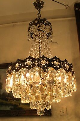 Antique Vintage BIG French Basket style Crystal Chandelier Lamp 1940's 16 in..