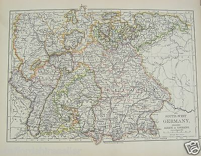 Antique 1895 Map of South West Germany Alsace Lorraine by W & AK Johnston