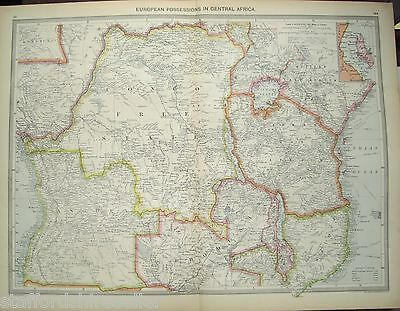 Antique Large Map c1906 Central Africa European Possessions