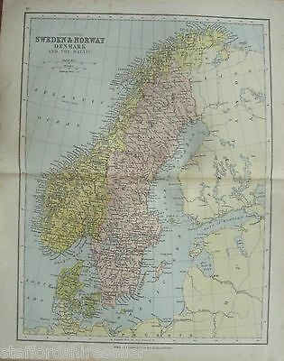 Antique Victorian Map Sweden Norway Denmark Baltic c1880 William Collins