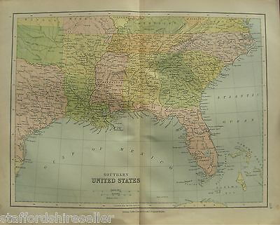 Antique Victorian c1880 Map Southern United States