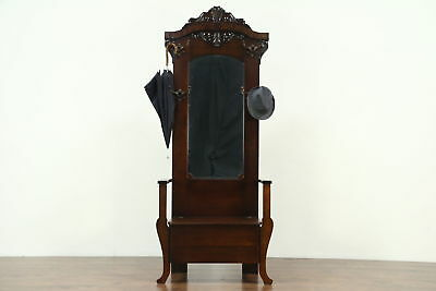 Victorian Antique Oak Hall Stand & Bench, Beveled Mirror, Storage Under Seat
