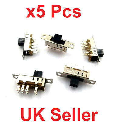x5 PCS 8 Pin, 3 Position Slide Switch,  2P3T DP3T PCB Mount Mini Vertical Toggle