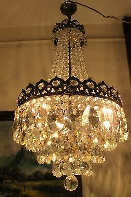 Antique Vnt.French Basket Style Crystal Chandelier Lamp Light 1940's.14.5 in