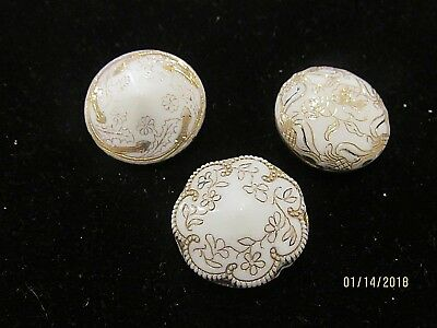 3 Antique Victorian Glass Buttons white gold old vintage sewing button 1800's