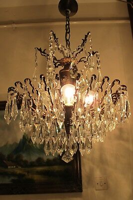 Antique Vnt. French HUGE SPIDER Style Crystal Chandelier Lamp Light 1940's 17 in