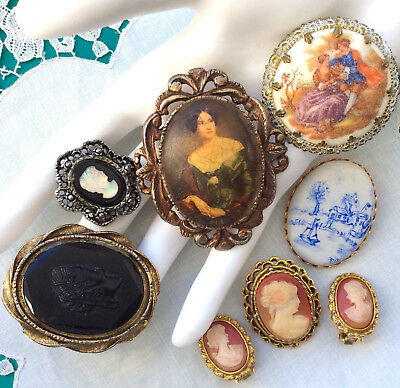 Vintage CAMEO LOT of 7 Pcs PINS EARRINGS RING W. Germany Carved Shell SET Glass