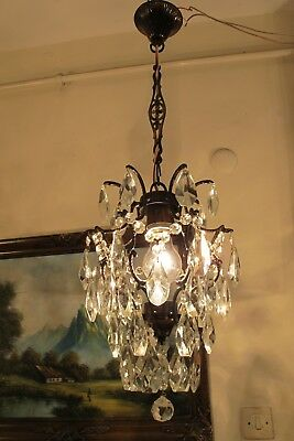 Antique Vintage Small Cage Style Crystal Chandelier Light Lamp 1940's 10 in..