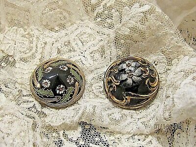 2 Antique Victorian Glass Buttons black gold old vintage sewing button 1800's