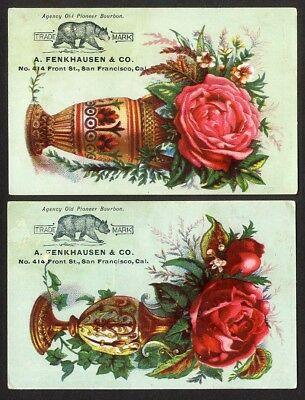 Old Pioneer BOURBON San Francisco 2 Victorian Trade Cards 1880's FENKHAUSEN