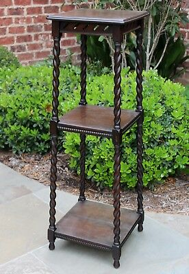 Antique English Oak Barley Twist 3-Tier Pedestal Display Table Plant Stand 39""
