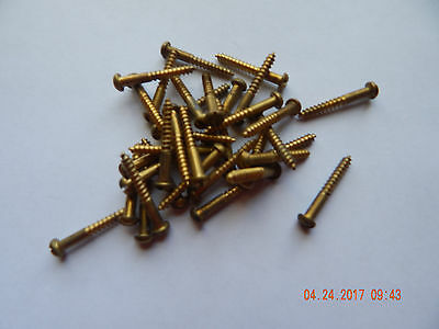 """BRASS ROUND HEAD SLOTTED WOOD SCREW 8 x 1 1/4"""" 50 PCS. NEW-NOS SOME TARNISH"""