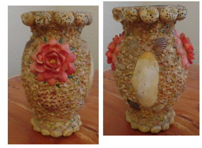 Vintage Victorian Sea Shell Whimsy Folk Art Vase Maritime  Colorful Look
