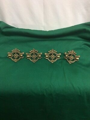 Antique/ Vintage Solid Brass Ornate Drawer Pulls Lot Set of (4)