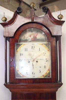 Antique English Longcase Clock 8Day Mahogany Grandfather Clock Painted Dial 1800