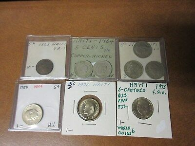 (9) Coin Lot Haiti 5 Centimes Lot # 4