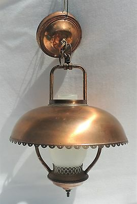 Antique Vintage Hanging Electrified Oil Lamp Brass Metal Shade Chandelier #1930