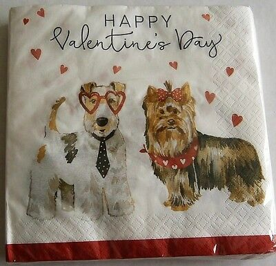 """VALENTINE'S DAY Luncheon Napkins HEART DOGS 2 ply  20 Ct  12 7/8"""" x 12 3/4"""""""