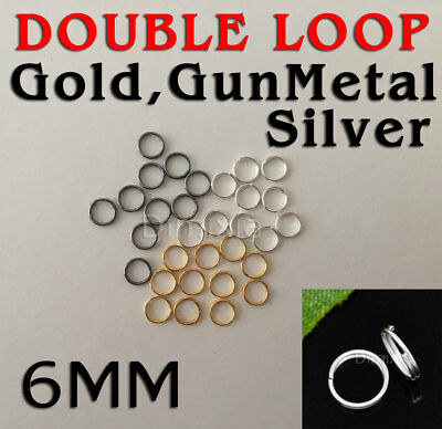 Silver Gold Gun Metal Double Loop Open Key Jump Rings Split Connector Round 6mm