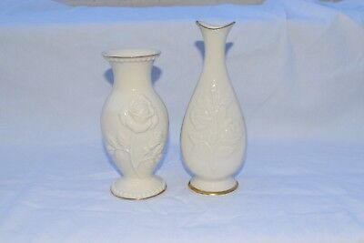 Lot of 2 ~ Beautiful Lenox ivory Colored Vases with Gold Trim