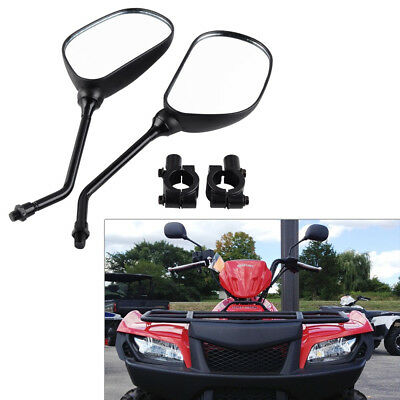 "Pair Rear View Mirrors for Honda Line of ATV with 7/8"" Handlebars Mount Holders"