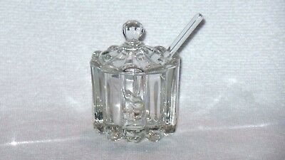 Heisey Glass Co Crystolite Mustard Jar Dish with Lid and Spoon - Signed