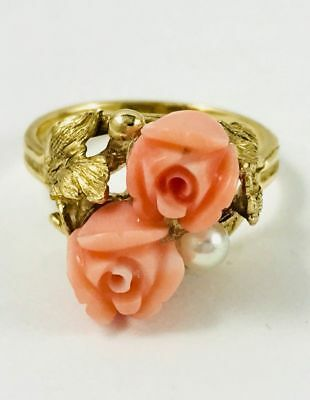 14K Gorgeous Hand Carved Vintage Coral Roses & Pearl Ring