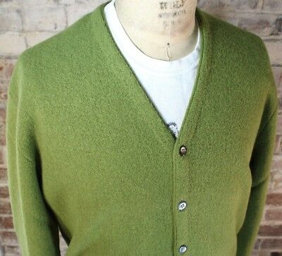 Vintage Arnold Palmer Robert Bruce Wool Cardigan Sweater Men's XL Olive Green