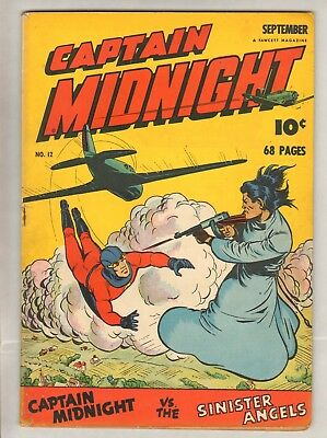 Captain Midnight #12 (VG+) (1943, Fawcett) 68 Pages!