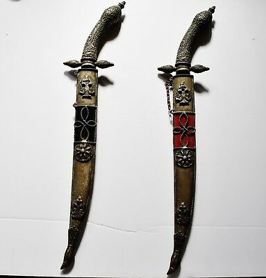 Antique Russian Imperial pair of gilt daggers sheath double headed eagle w. EMAZ
