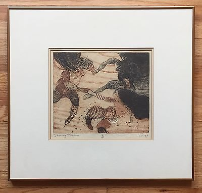 WALTER SORGE Original Signed Color Etching Mid-Century Stanley Hayter LISTED