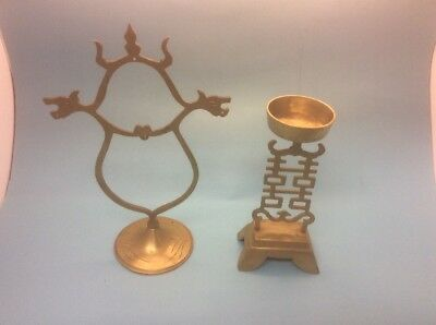 Vintage Brass Dragon Bell Or Gong Holder Stand & Extra Ornate Piece, Incense?