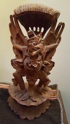 Antique figurine Indonesian God Hand Carved Wood  Vishnu Garuda Vintage Statue