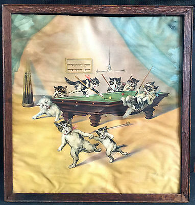 c1900 Eight CATS PLAYING POOL Colorful  Huge iS.M. Schwab
